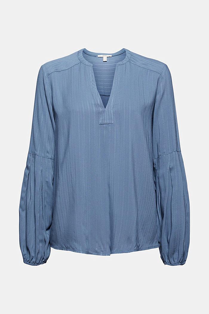 Bluse mit Struktur-Streifen, LENZING™ ECOVERO™, GREY BLUE, detail image number 7