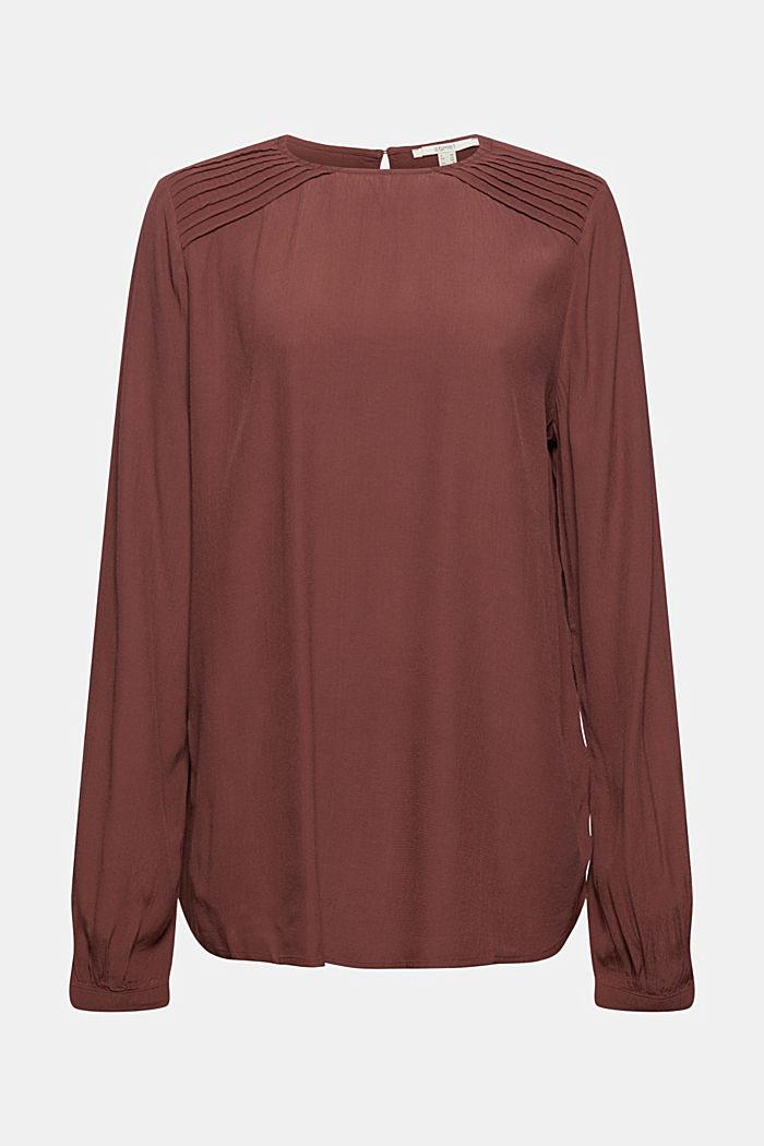 Crêpe-Bluse mit Biesen, LENZING™ ECOVERO™, RUST BROWN, detail image number 7