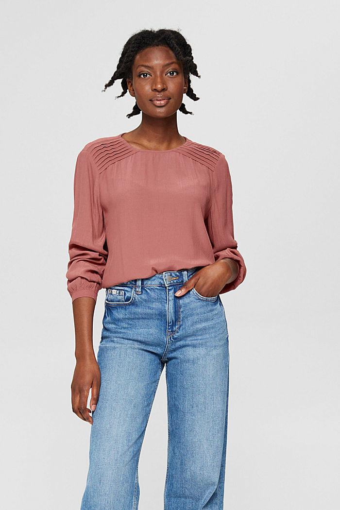 Crêpe blouse met biesjes, LENZING™ ECOVERO™