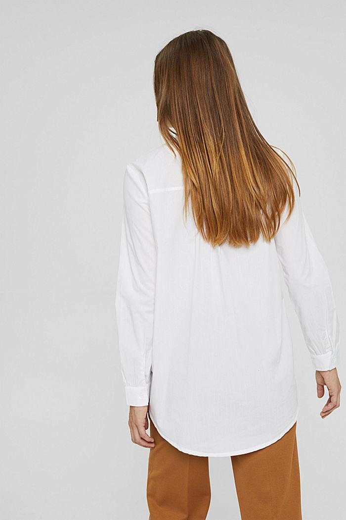 Long-Bluse mit gerüschtem Kragen, Baumwolle, WHITE, detail image number 3