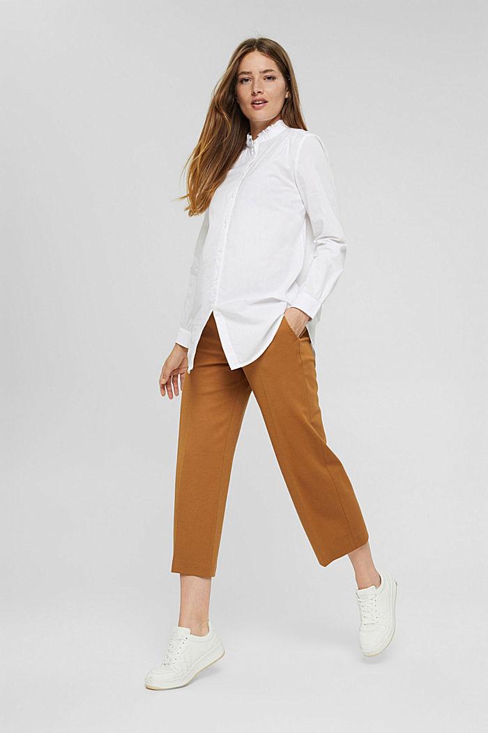 Long-Bluse mit gerüschtem Kragen, Baumwolle, WHITE, detail image number 1