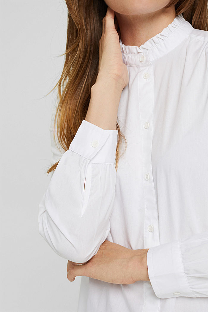 Long-Bluse mit gerüschtem Kragen, Baumwolle, WHITE, detail image number 2