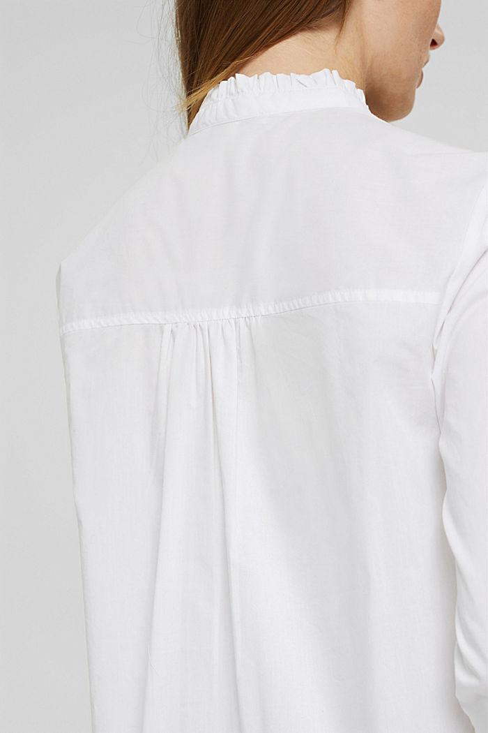Long-Bluse mit gerüschtem Kragen, Baumwolle, WHITE, detail image number 5