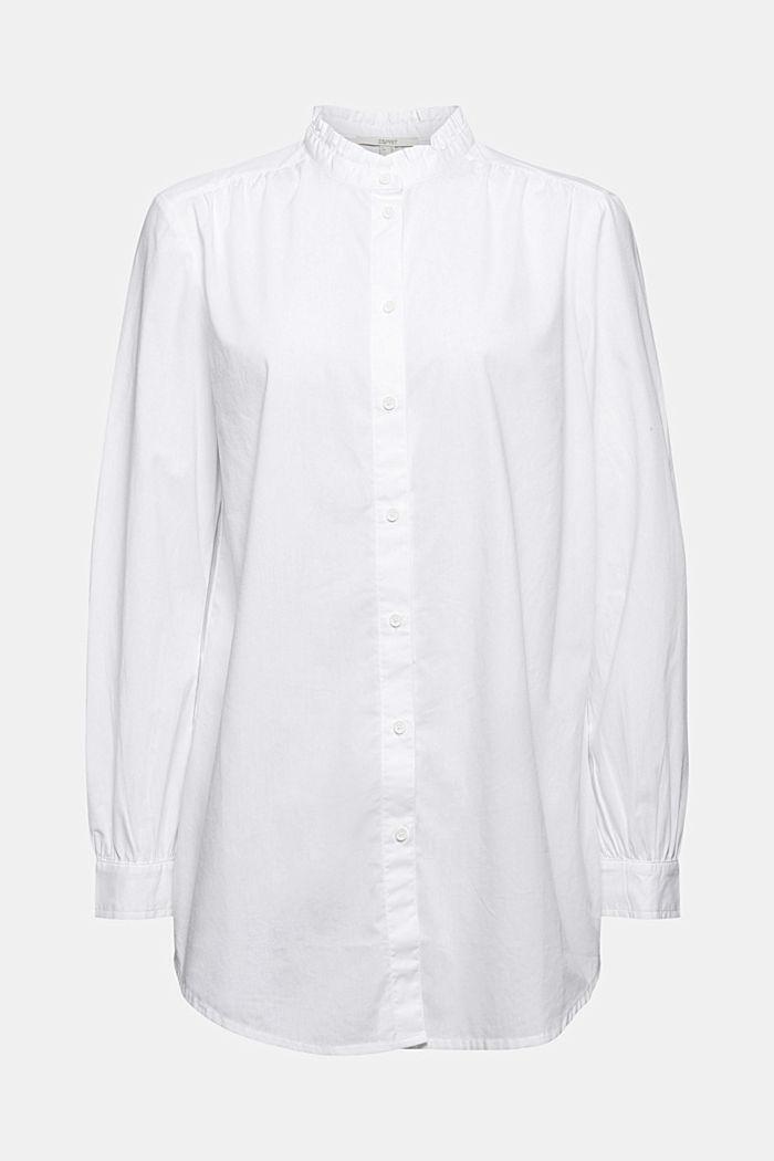 Lange blouse met ruche aan de kraag, katoen