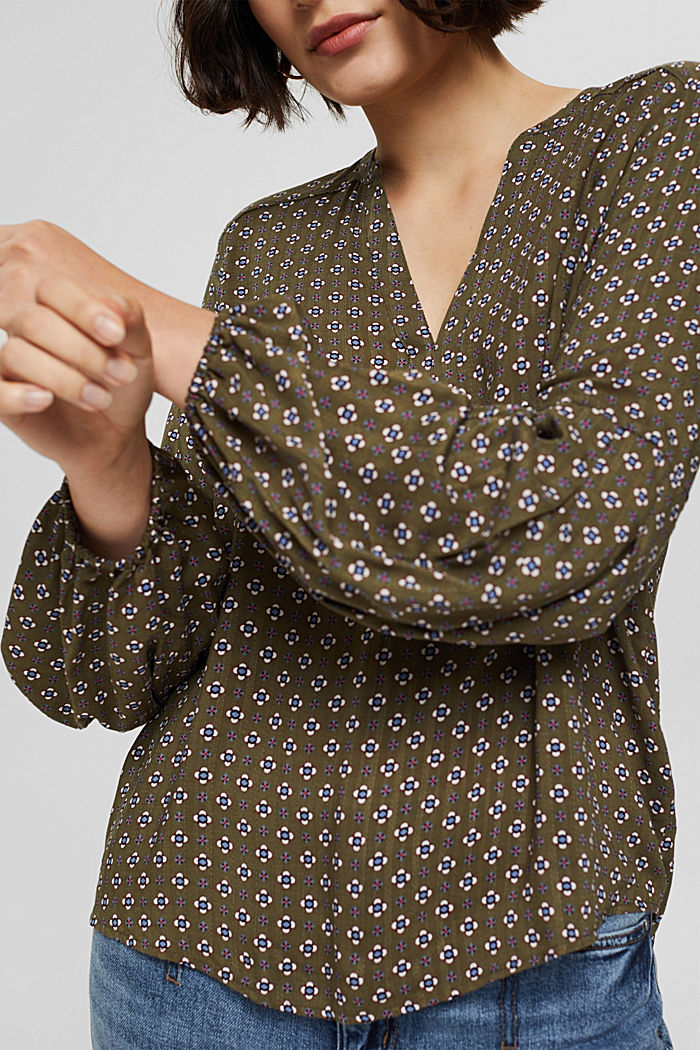 Bluse mit Blumen-Print aus LENZING™ ECOVERO™, DARK KHAKI, detail image number 2
