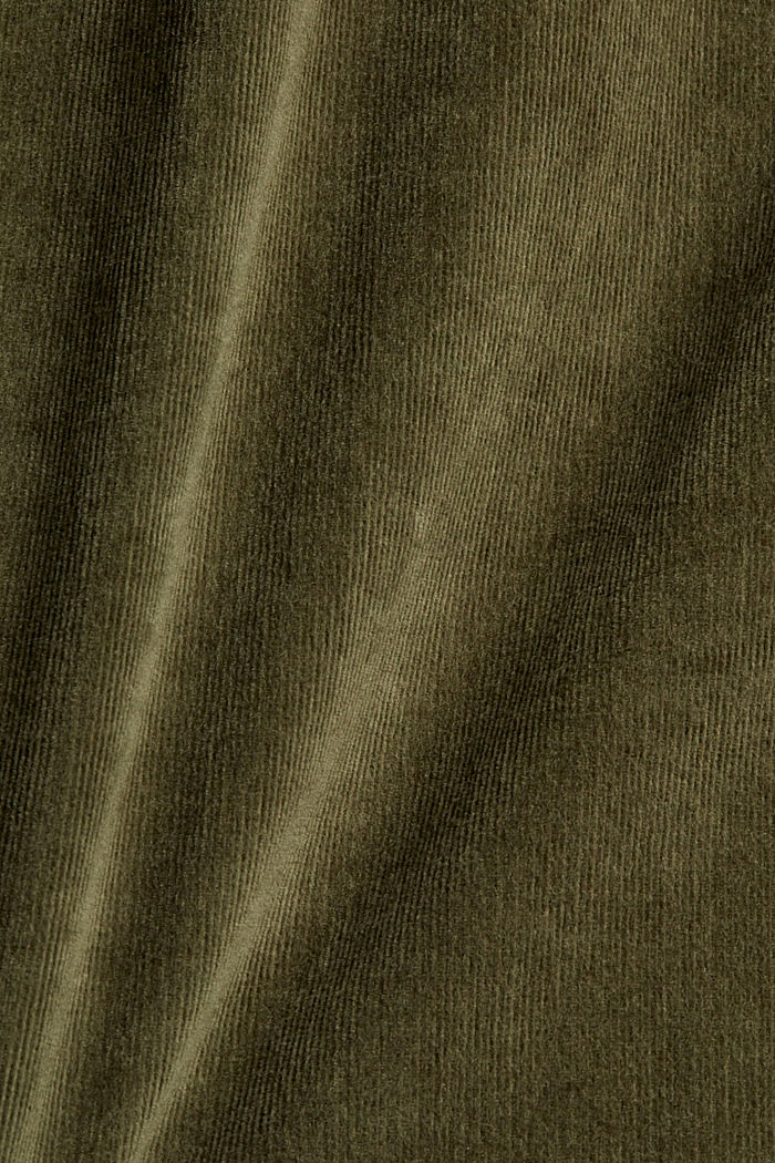 Chemisier en fin velours de coton stretch, DARK KHAKI, detail image number 4