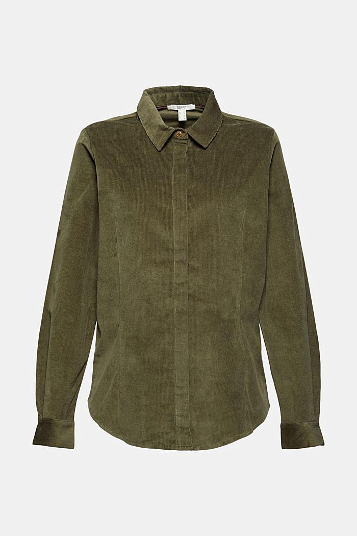 Feincord-Hemdbluse aus Baumwoll-Stretch