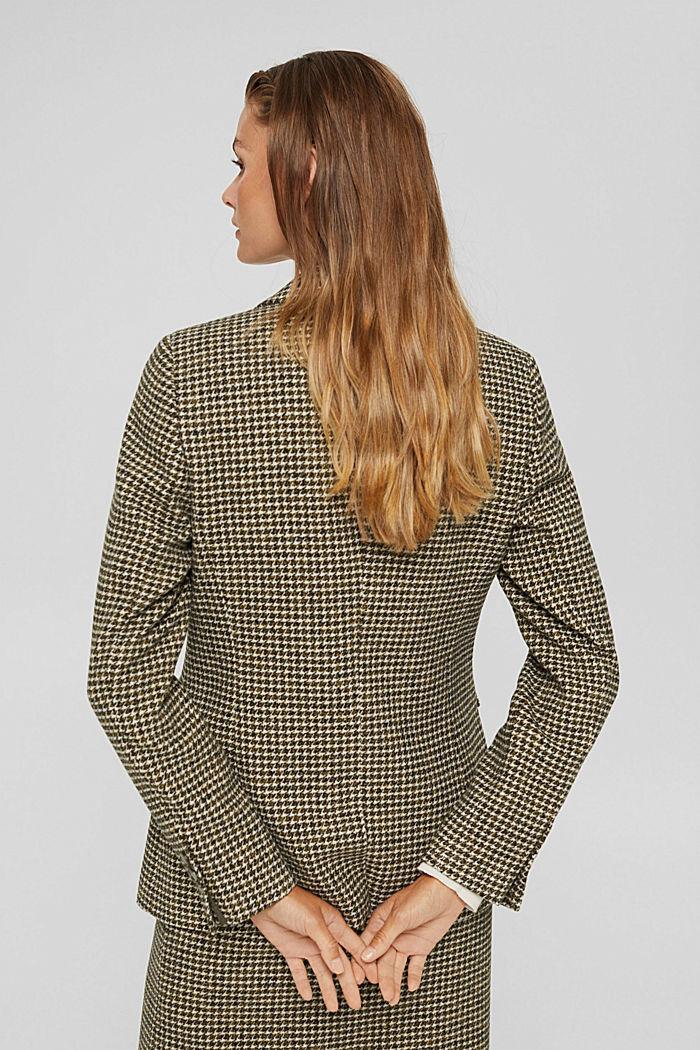 Wool blend: Blazer with houndstooth pattern, DARK KHAKI, detail image number 3