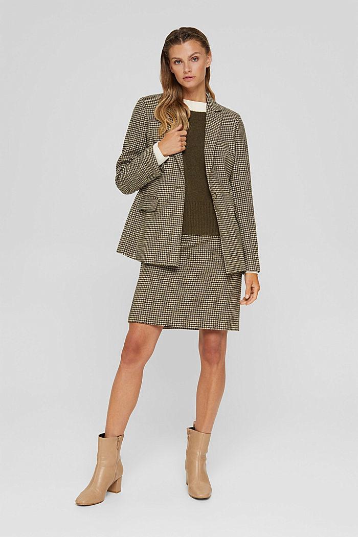 Wool blend: Blazer with houndstooth pattern, DARK KHAKI, detail image number 1