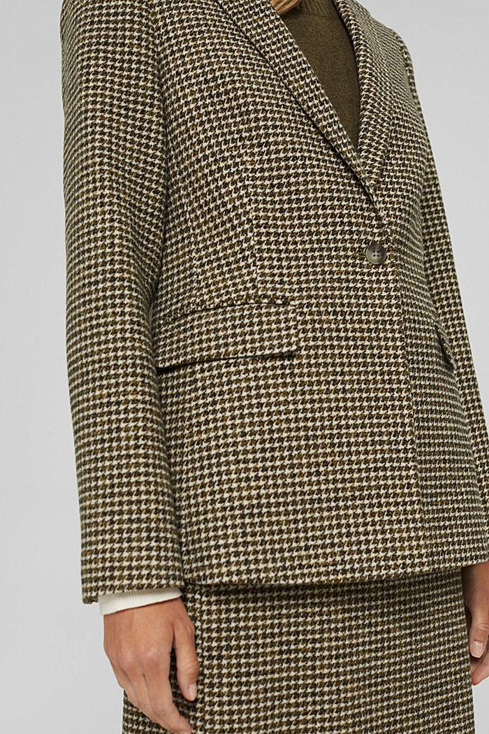 Wool blend: Blazer with houndstooth pattern, DARK KHAKI, detail image number 2