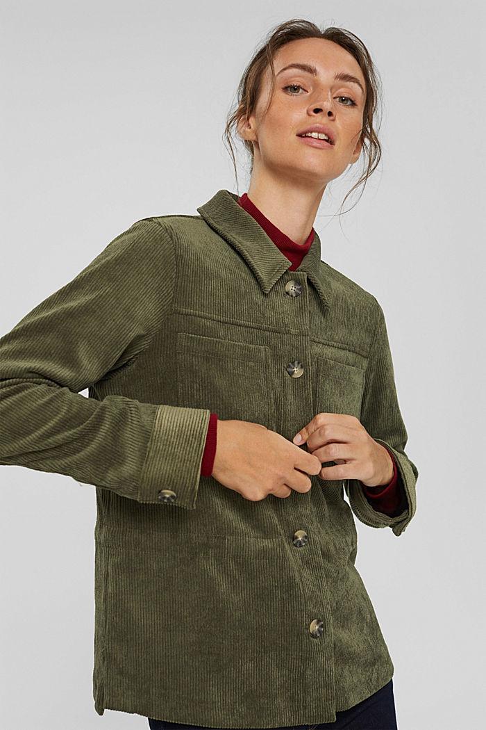 En matière recyclée: la veste en velours côtelé à cordon de serrage, DARK KHAKI, detail image number 0