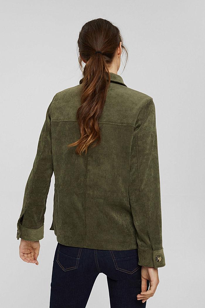 En matière recyclée: la veste en velours côtelé à cordon de serrage, DARK KHAKI, detail image number 3