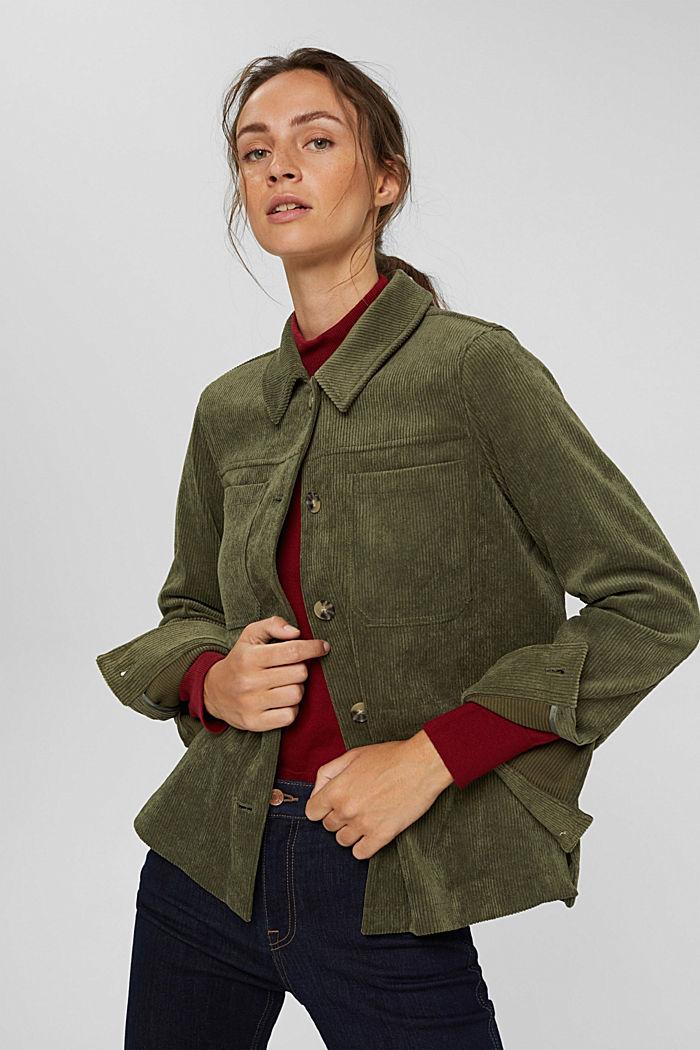 En matière recyclée: la veste en velours côtelé à cordon de serrage, DARK KHAKI, detail image number 5
