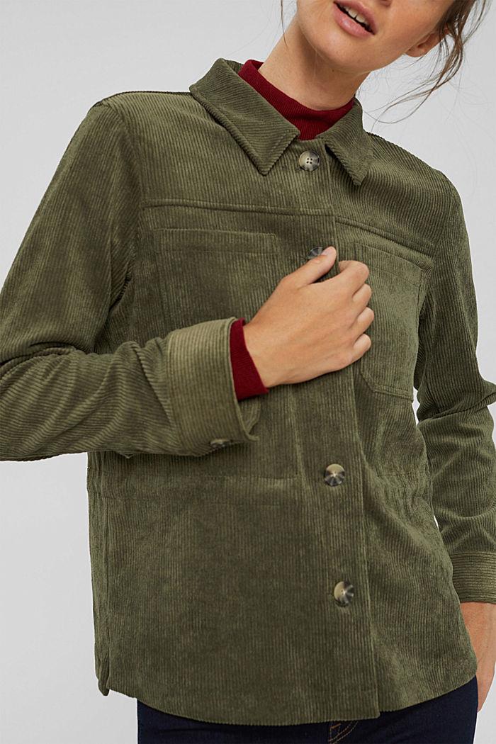 En matière recyclée: la veste en velours côtelé à cordon de serrage, DARK KHAKI, detail image number 2
