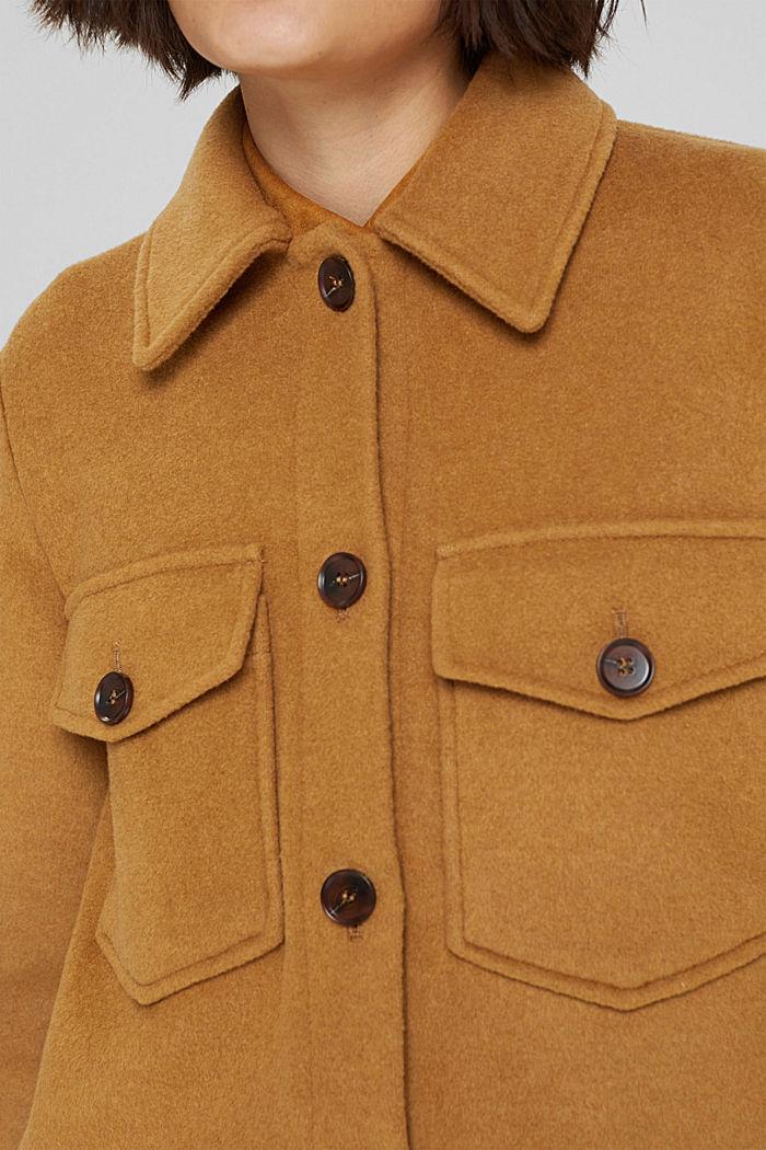 Hemdjacke aus Woll-Mix, CAMEL, detail image number 2
