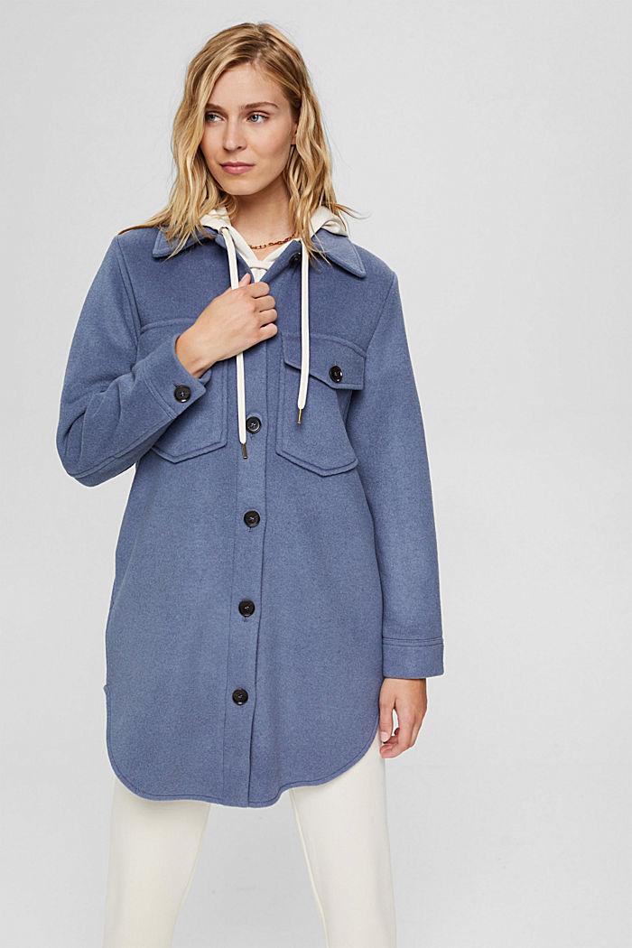 Hemdjacke aus Woll-Mix, GREY BLUE, detail image number 0