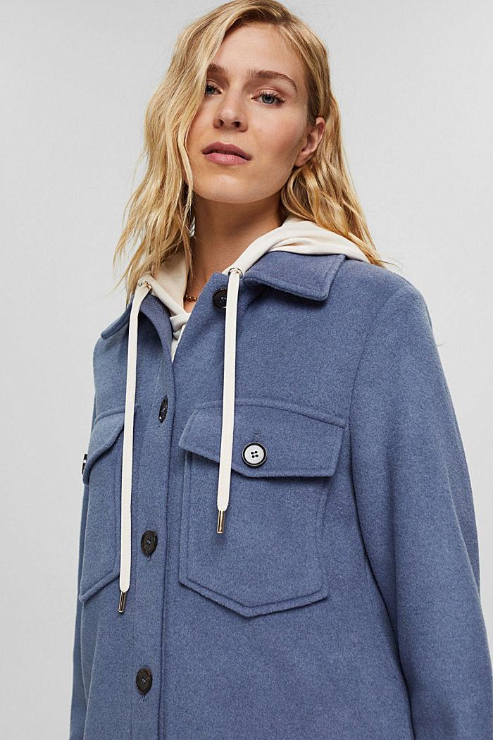 Hemdjacke aus Woll-Mix, GREY BLUE, detail image number 5