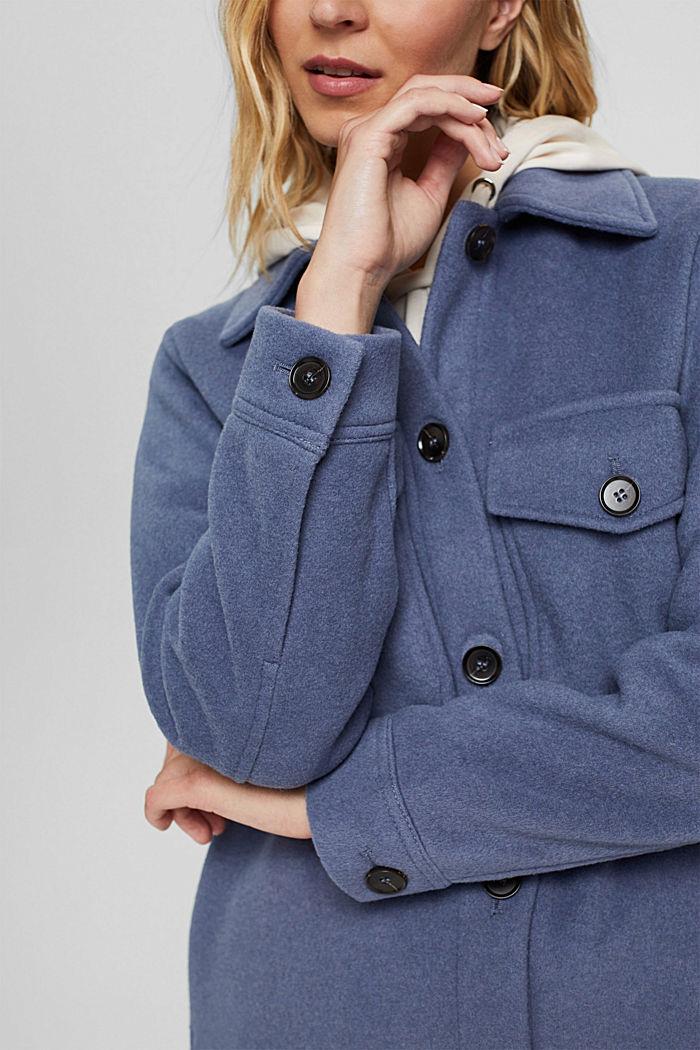 Hemdjacke aus Woll-Mix, GREY BLUE, detail image number 2