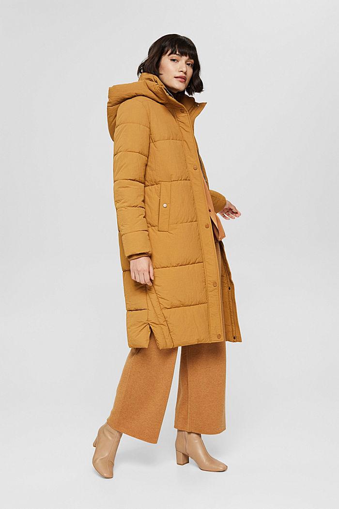 Gerecycled: gewatteerde mantel met structuur, CAMEL, detail image number 5