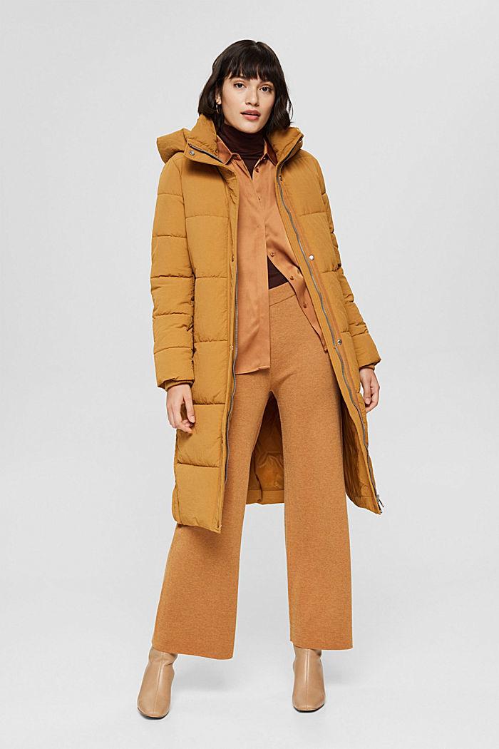 Gerecycled: gewatteerde mantel met structuur, CAMEL, detail image number 1