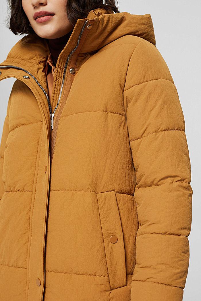 Gerecycled: gewatteerde mantel met structuur, CAMEL, detail image number 2