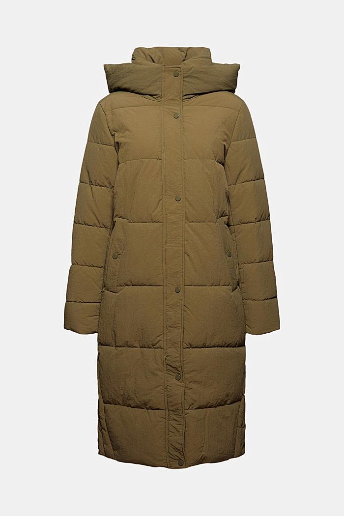 Gerecycled: gewatteerde mantel met structuur