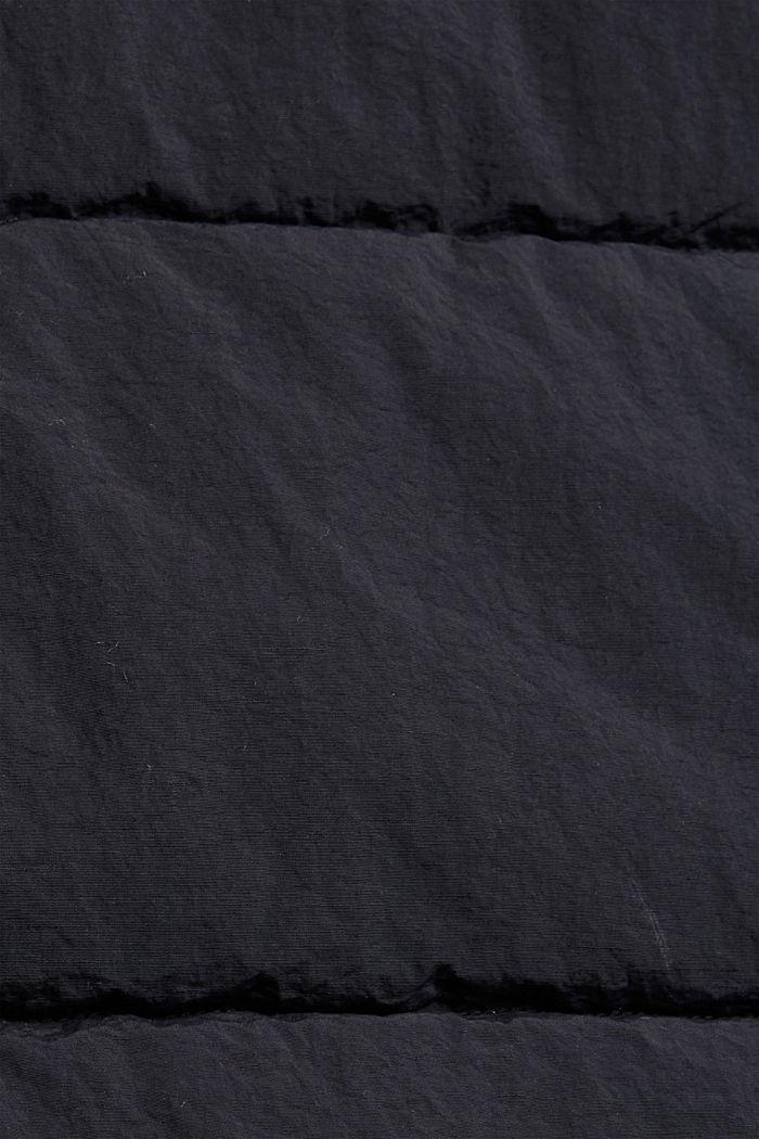 En matière recyclée: la veste matelassée froissée à capuche, BLACK, detail image number 4