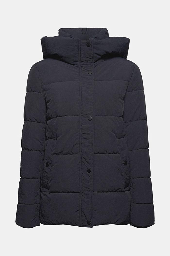 En matière recyclée: la veste matelassée froissée à capuche, BLACK, detail image number 7