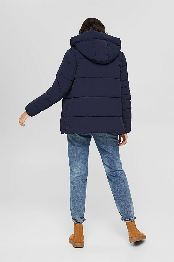Recycled: crinkle quilted jacket with hood, NAVY, detail image number 3