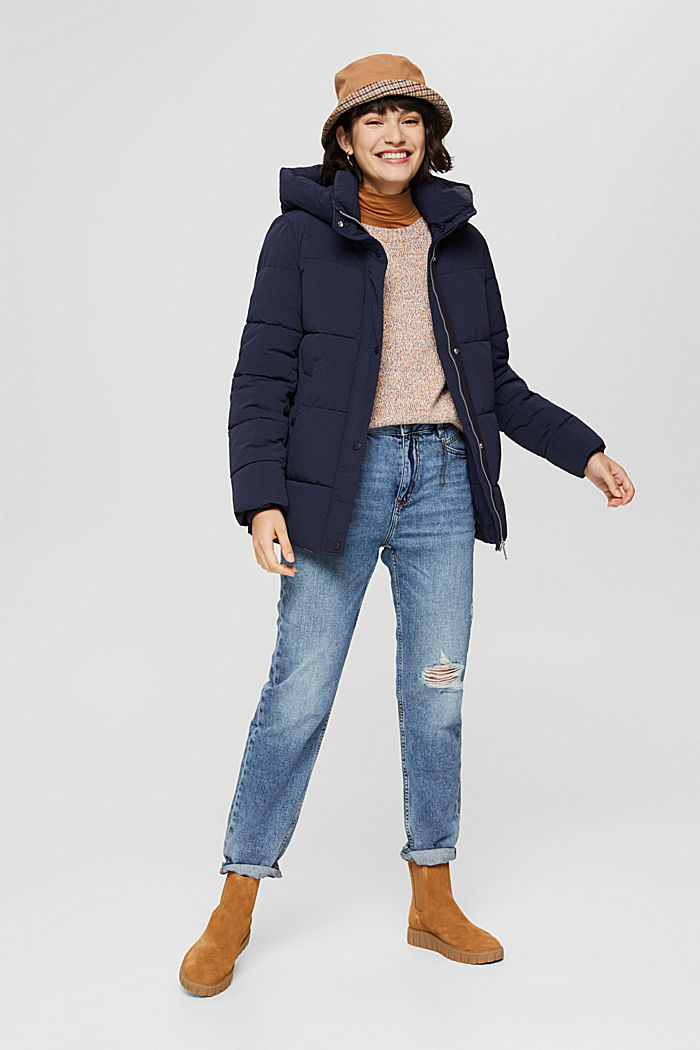 Recycled: crinkle quilted jacket with hood, NAVY, detail image number 1