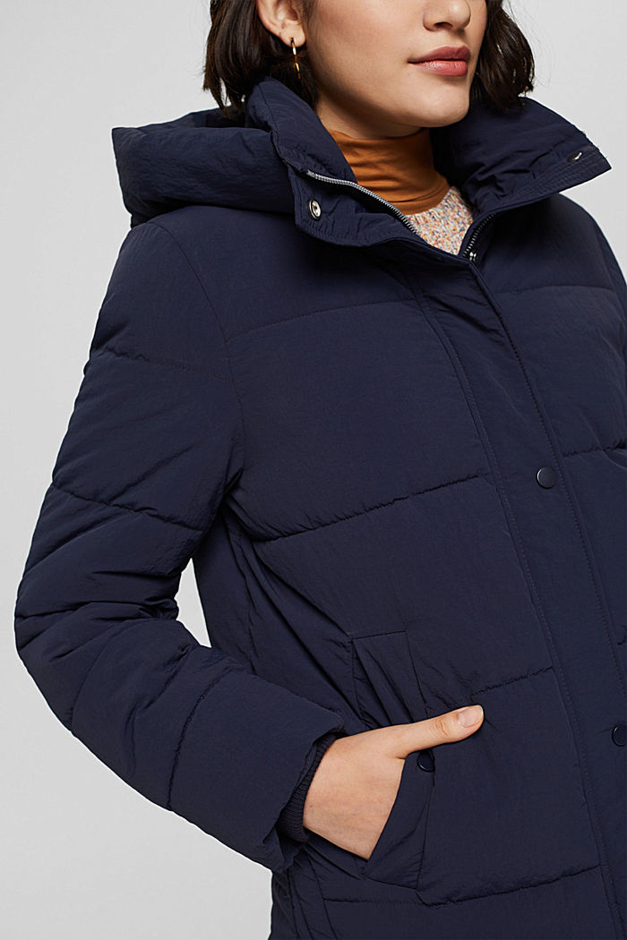 Recycled: crinkle quilted jacket with hood, NAVY, detail image number 2