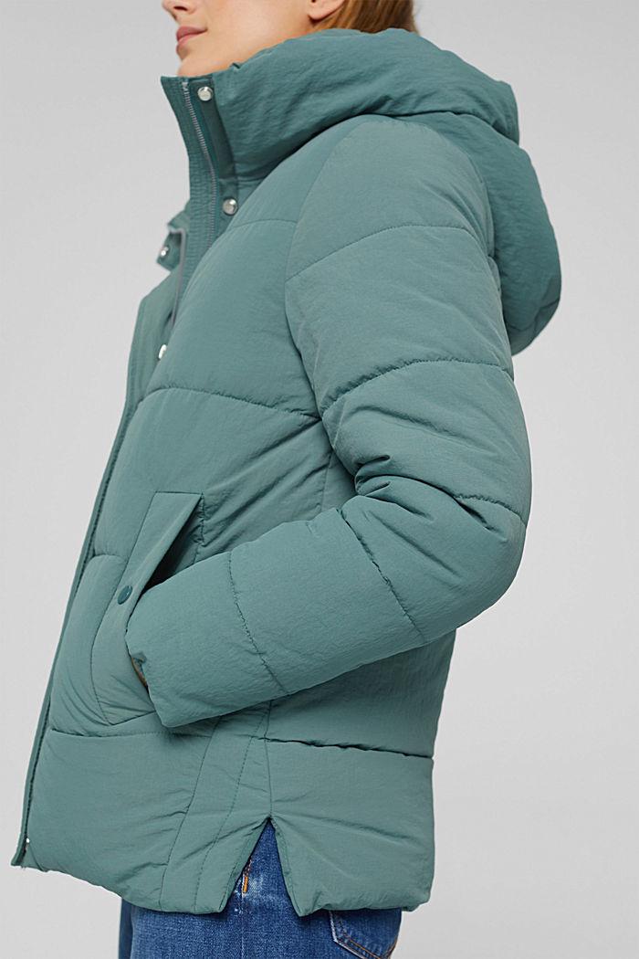 Reciclada: cazadora acolchada con capucha y acabado arrugado, TEAL BLUE, detail image number 6