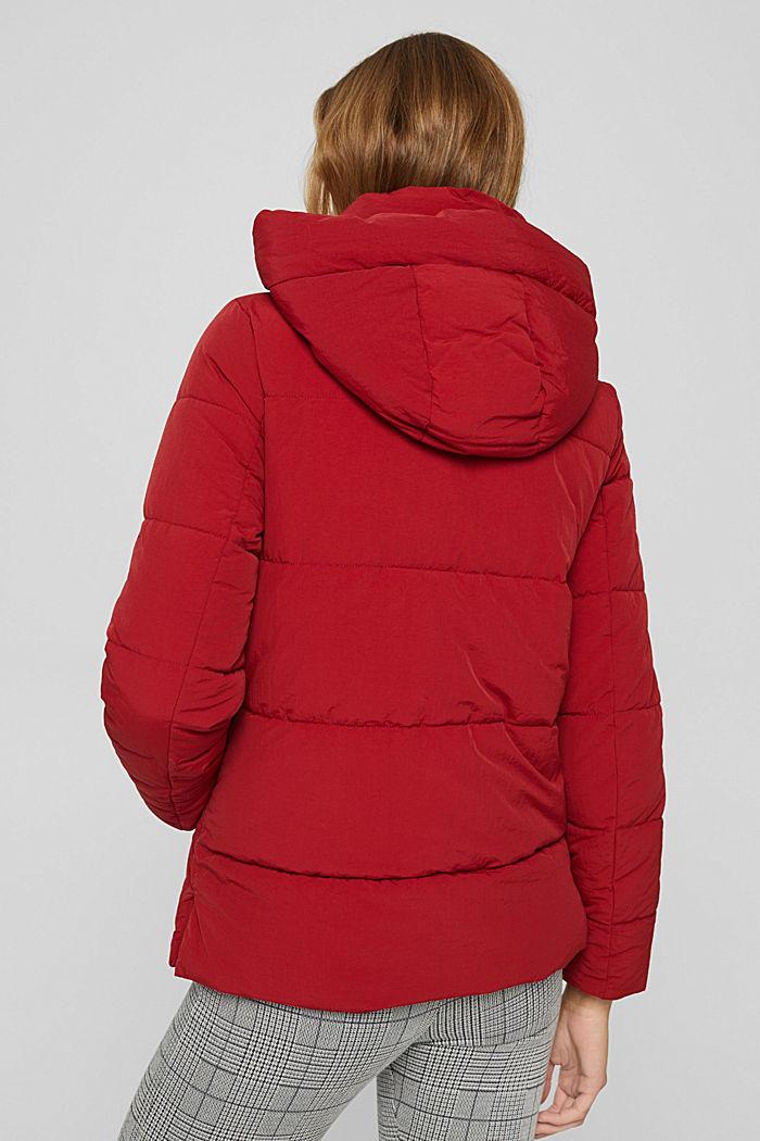 Reciclada: cazadora acolchada con capucha y acabado arrugado, DARK RED, detail image number 3