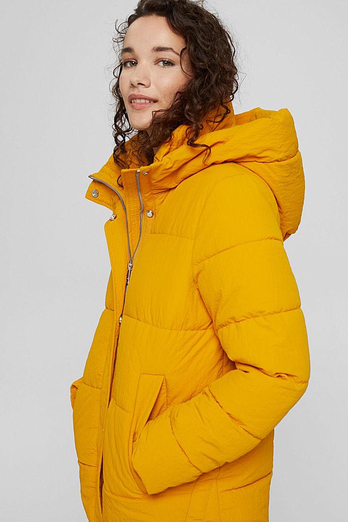 Z recyklingu: pikowana kurtka z kapturem i marszczeniami