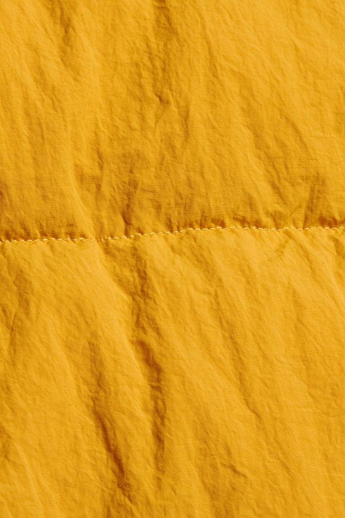 Recycelt: Crincle-Steppjacke mit Kapuze, HONEY YELLOW, detail image number 4