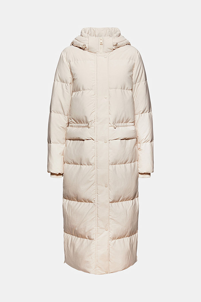Recycled: quilted coat with down