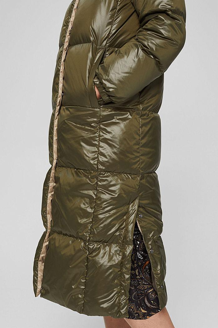 Glossy Steppmantel mit recycelter Daune, DARK KHAKI, detail image number 5