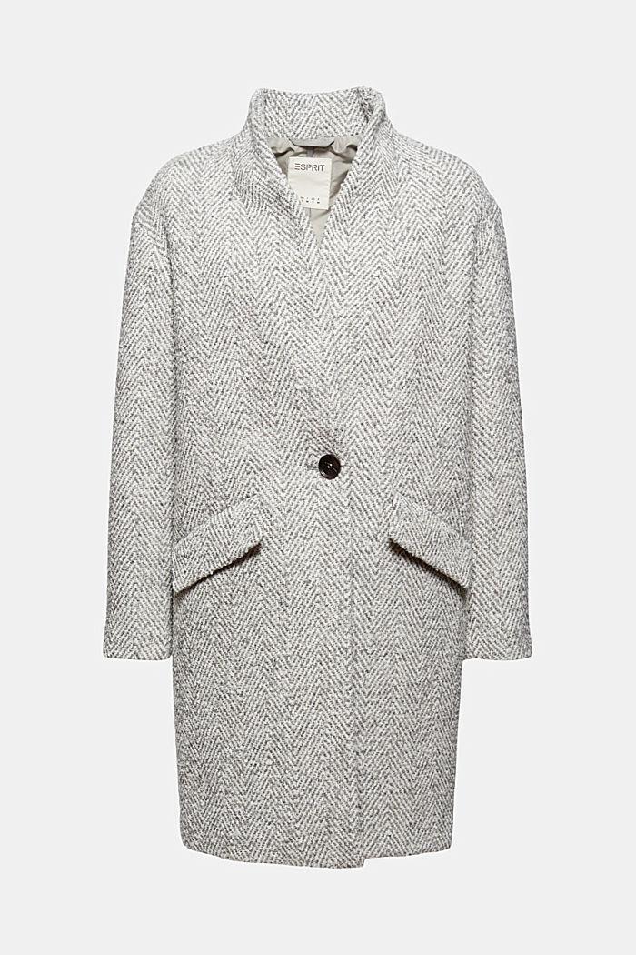 Con lana reciclada: abrigo con diseño de espiga