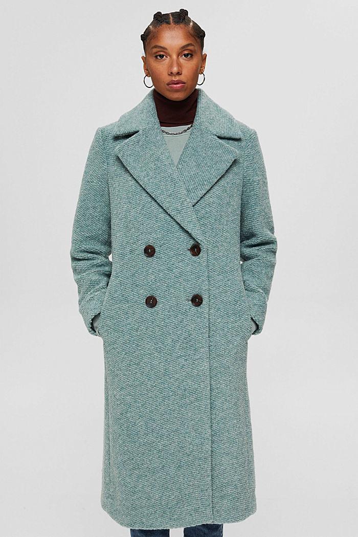Met wol: mantel met brede reverskraag, DUSTY GREEN, detail image number 5