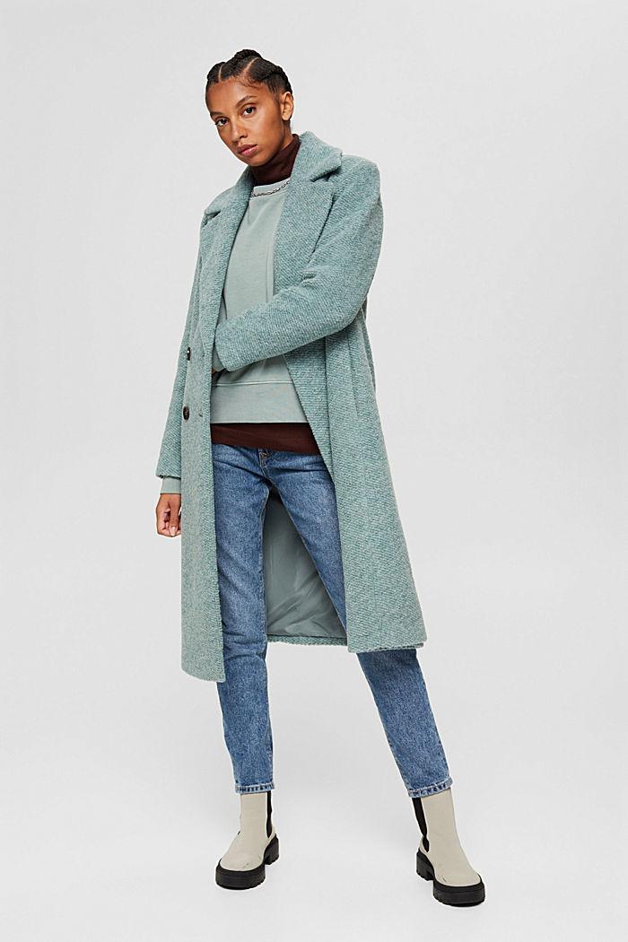 À teneur en laine: manteau à large col à revers