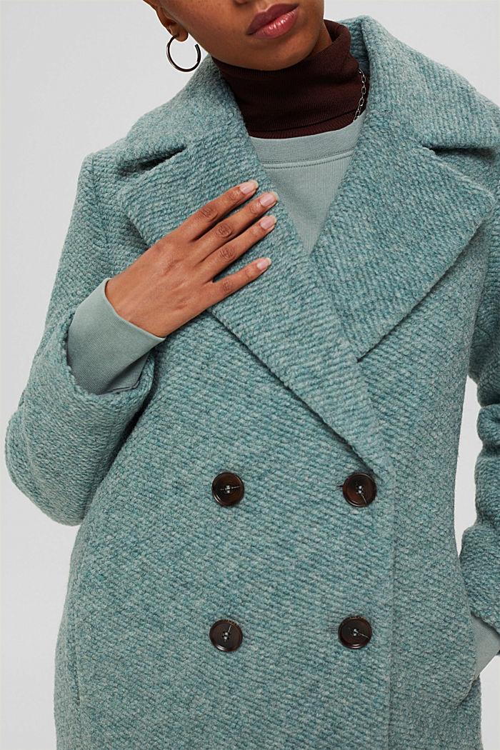 Met wol: mantel met brede reverskraag, DUSTY GREEN, detail image number 2