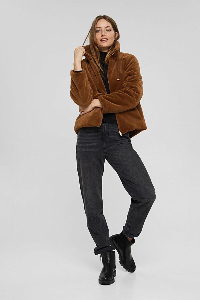 Jacke aus weichem Webfell mit Stehkragen, TOFFEE, detail image number 1