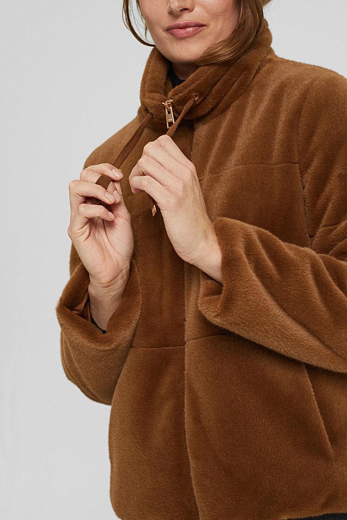 Jacke aus weichem Webfell mit Stehkragen, TOFFEE, detail image number 2