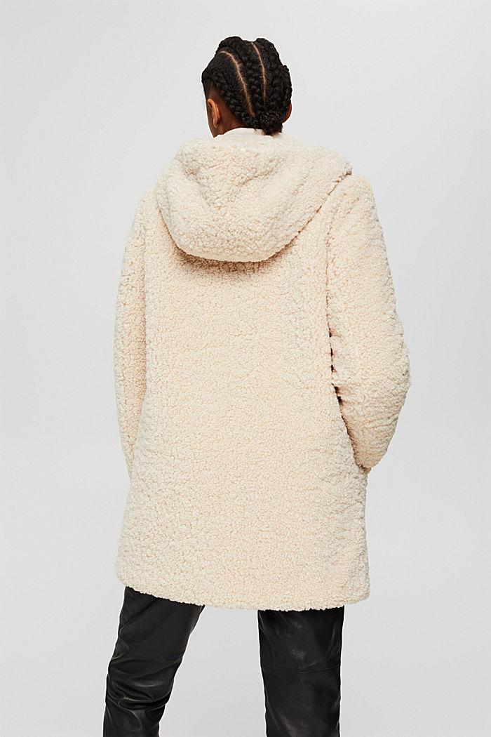 Mantel van teddy met capuchon, ICE, detail image number 3