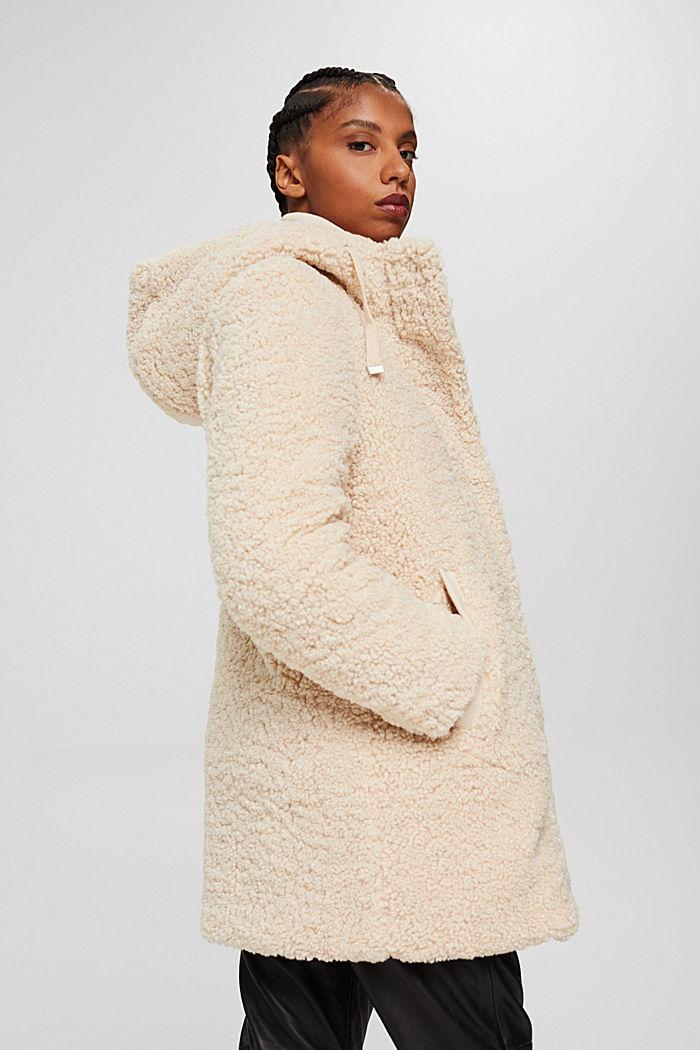Mantel van teddy met capuchon, ICE, detail image number 5