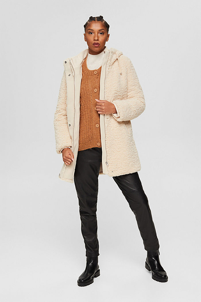 Mantel van teddy met capuchon, ICE, detail image number 1