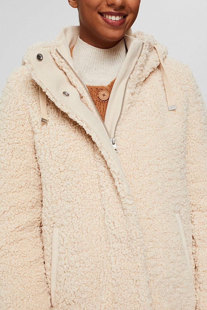 Mantel van teddy met capuchon, ICE, detail image number 2