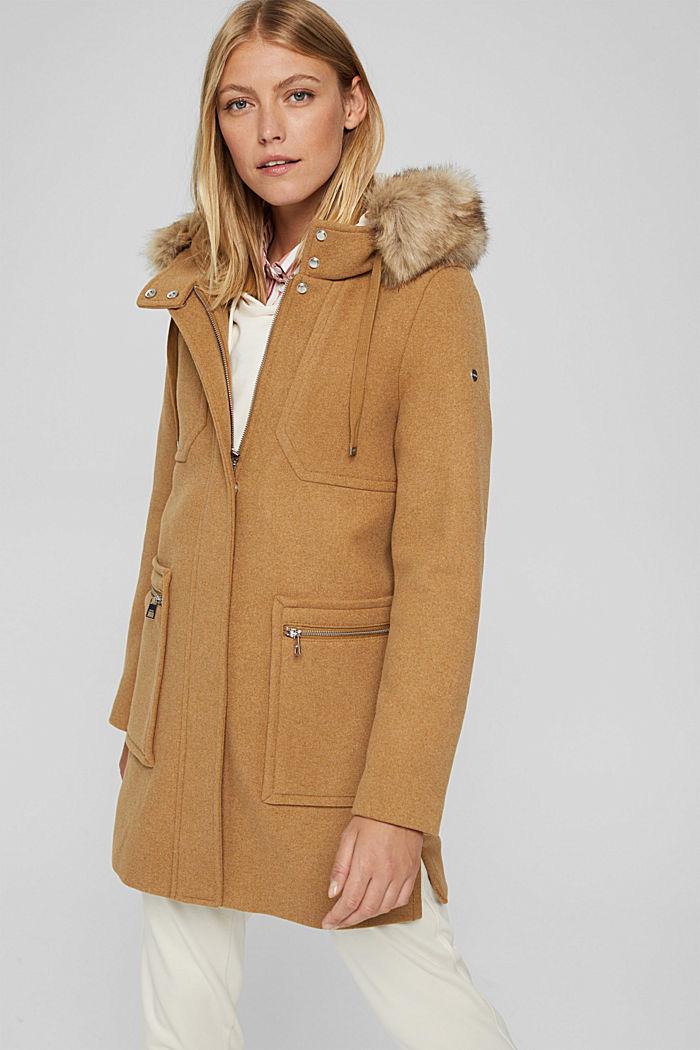 Met wol: mantel met imitatiebont in de capuchon, CAMEL, detail image number 0