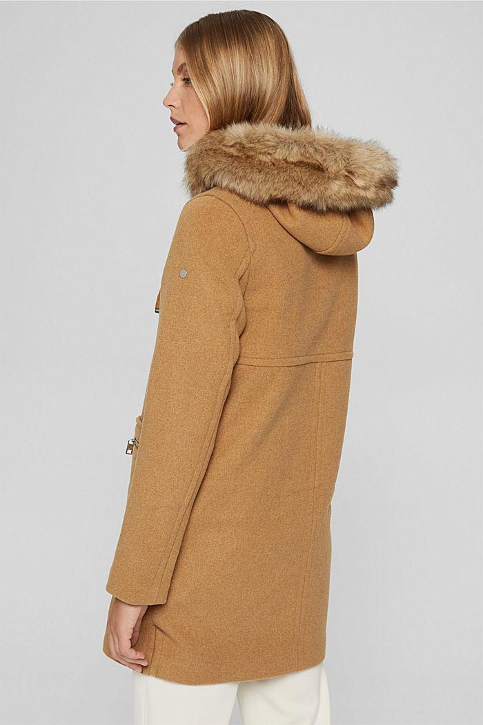 Met wol: mantel met imitatiebont in de capuchon, CAMEL, detail image number 3