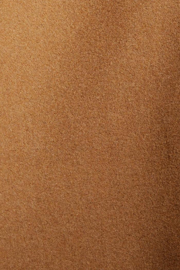 Met wol: mantel met imitatiebont in de capuchon, CAMEL, detail image number 4